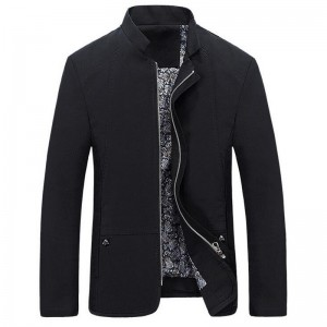 Spring Autumn Mens Jacket Casual Slim Fit Solid Color Coat Zipper Stand Collar Outwear Mid Length Male Coats