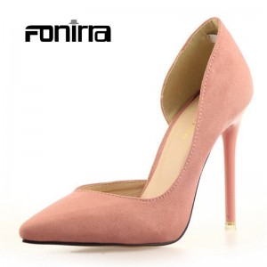Spring Summer Solid Concise Pumps Super Heel Flock Pointed Shoes Pumps Women Thumbnail