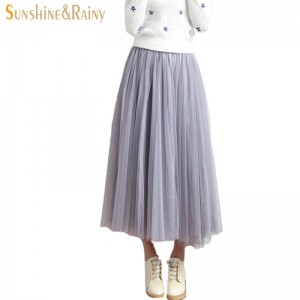 Spring Summer Women Mesh Skirt Long Travel Gown Four Layers New Arrival For Women Thumbnail