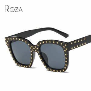 Stylish Sunglasses For Girls Designer Rivets Decoration Steampunk Goggles UV400 Polarized Eyewear For Ladies