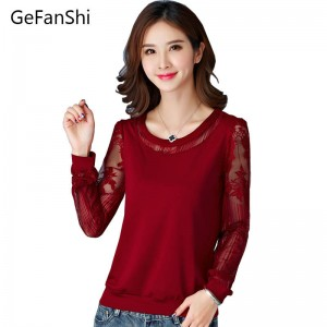 Summer Autumn New Fashion Women T Shirts Casual Lace Long Sleeve Patchwork Tees Thumbnail