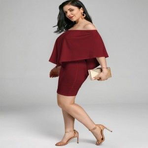 Summer Autumn Off Shoulder Bodycon Dress For Women Poncho Style Popover Cloak Sleeve Party Formal Dress