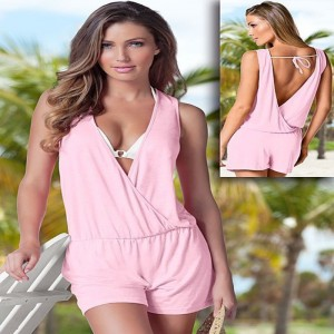Summer Beach Wear Dresses Sleeveless Jumpsuits Sexy Backless Bodycon Bodysuit Rompers For Women