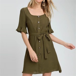 Summer Dress 2019 Elegant Flare Sleeve Solid Dress Square Neck Women Dresses Sexy Bandage Bodycon Dress