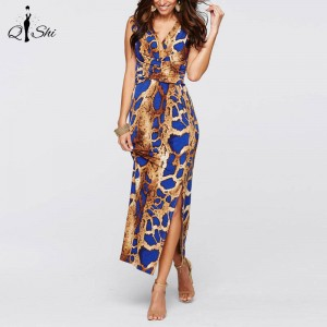 Summer Elegant Vintage Print Pin Up Sleeveless Maxi Party Bodycon Dress Women Thumbnail