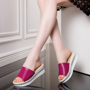 Summer Leather Sandals Flip Flops For Women Breathable Platform Sandals Slippers Casual Shoes For Women