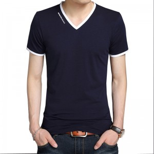 Summer New Mens T Shirts Fashion Striped V Neck Slim Fit Short Sleeve T Shirt  Mercerized Cotton Brand Clothing Casual
