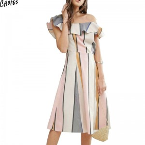 Summer Polychrome Stripes One Shoulder Ruffle Trim Midi Dress Short Sleeve Slash Neck Straight Casual Women Dresses