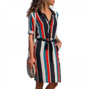 Summer Women Dress Striped Office Dress Long Sleeve Shirt Dresses Tunic Bandage Bodycon Beach Party Dress Vestidos