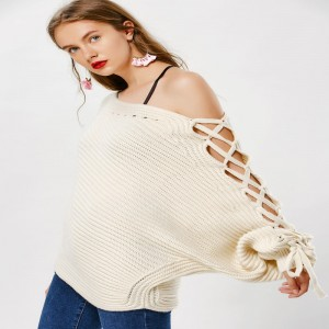 Super Sexy Autumn Winter Lace Up Sweater Cardigan For Ladies Side Lace Pullover Warm Top Quality Cardigans For Female