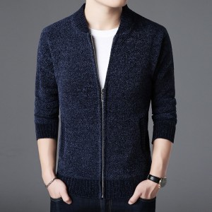 Sweater Men Slim Cardigan Thick Fit Jumpers Knitwear Zipper Warm Winter Korean Style Casual Clothing Male Outfit