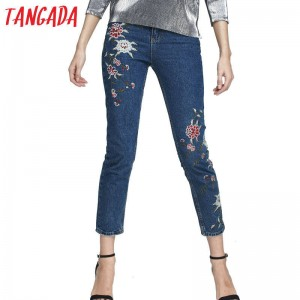 Tangada Fashion Women Denim Pants Floral Embroidery Pencil Jeans With Pockets For Women Thumbnail