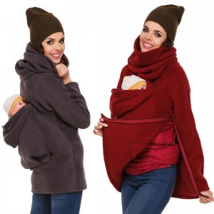 Three In One Multi Functional Mother Kangaroo Pockets Hooded Hoodies Women Casual Hoodies Zipper Pregnant Tops