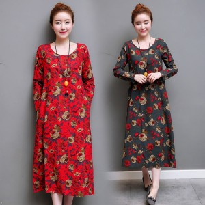 Toe Length Loose Fit Autumn Summer Dress For Women Casual Party Comfortable Pretty Dresses For Female