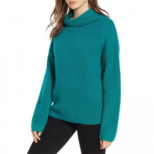 Trendy Women clothes Winter Casual solid Turtle Neck Tops Long Sleeve Knit Loose Pullover Sweater One Piece Sweater