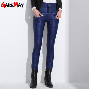 Trousers Winter High Waisted Outer Wear Women female Fashion Slim Warm Thick Duck Down Pants Trousers skinny