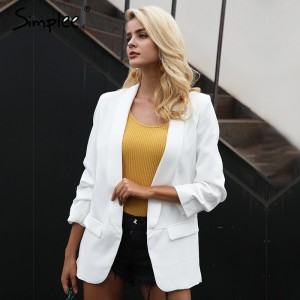 Turn Down pocket blazer coat women Ruched sleeve black suit blazer Cool slim fit winter outerwear female fashion