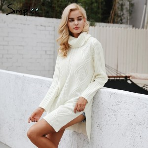 Turtleneck high split knitting pullover Autumn winter long sleeve sweater women pull femme streetwear soft jumper