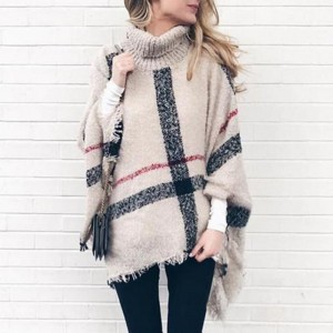 Turtleneck Sweater Winter Coat Women Plaid Tassels Shawl Knitting Jumper Pullover Ponchos And Capes