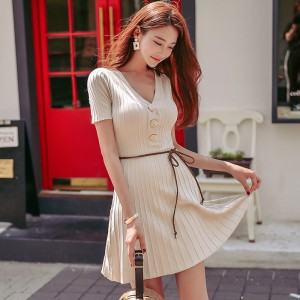 V Neck Buttons A Line Knitted Dress Sexy Short Sleeve Slim Waist Women Dress Elastic Autumn Spring vestidos femme