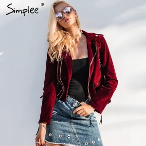 Velvet zipper jacket coat women Cool wine red motorcycle jacket new fashion winter jacket women outerwear coats
