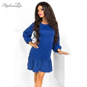 Vestidos Sexy Ruffles Summer Long Sleeve Casual Bodycon Party Cocktail Dress Women Thumbnail