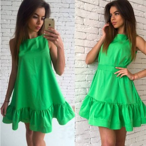 Vestidos Sexy Ruffles Summer Sleeveless Casual Latest Dress For Women Thumbnail