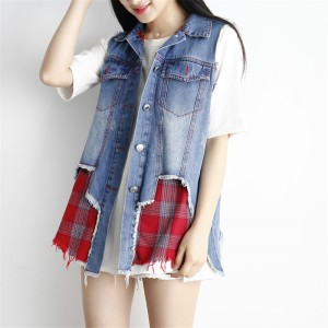 Vests Cardigan Fashion Casual 2 Piece Set Sleeveless Summer Denim Women Jacket Female Waistcoat