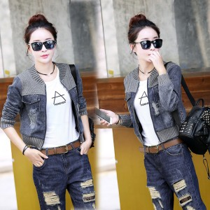 Vintage Fashion Knitted Patchwork Frayed Hole Denim Jacket Casual Ripped Jeans Long Sleeve Coat Female Outerwear