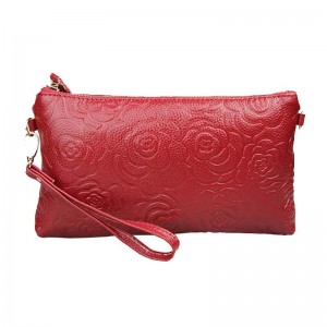 Vintage Genuine Leather Bags Women Messenger Bag Clutch Floral Embossed Bolsa Shoulder Bag