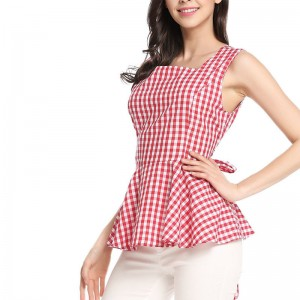 Vintage Woman Top Square Collar Sleeveless Elegant Style Center Back Zipper Closure Design Retro Vichy Plaid Top