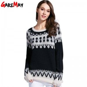 Warm Pattern Pullover Korean Retro Sweater Loose O Neck Knitted Pullover For Women