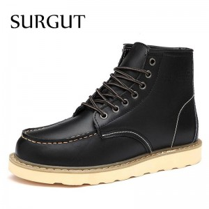 Waterproof Mens Ankle Boots Winter Keep Warm Boots Fashion Snow Fur Boots Mens Shoes Western Motorcycle Boots