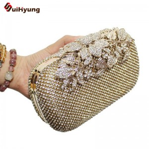Wedding Bridal Clutches Glitter Crystal Evening Women Shoulder Handbags Flower Clutch New Arrival For Women Thumbnail