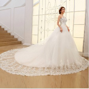 Weonedram New Luxury Rhinestone Bridesmaid Dress With Big Trailing Slim Sexy Bandage Sweet Bride Robe Thumbnail