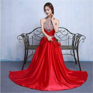 Weonedream Evening Dress A Line Party Gown Prom Gown Pretty Sleevless Sexy Rhinestone Halter Dress Women Thumbnail