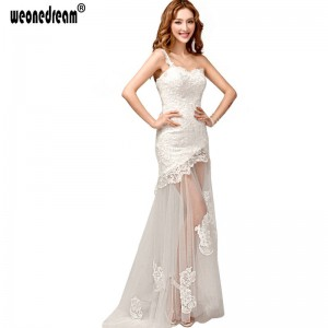 Weonedream Princess One Shoulder Perspective Bride Mermaid Dress White Train Formal Prom Dress For Women Thumbnail