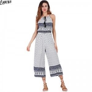 White Halter Geometric Print Wide Leg Jumpsuit Women Calf Length Sleeveless Tied Front Casual Loose Summer Boho Romper