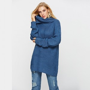 Winter Casual Long Sleeve Cardigan Sweater For Ladies Knitted Solid Color Turtleneck Pullover Loose Sweater