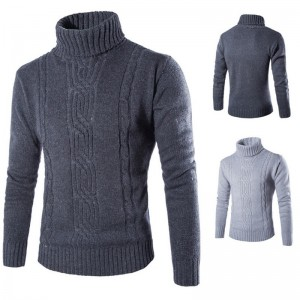 Winter High Neck Thick Warm Sweater Men Turtleneck Mens Sweaters Slim Fit Pullover Men Knitwear Male Double Collar