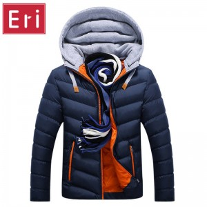 WInter Jacket Hat Detachable Warm Cotton Coat Hooded Jacket For Men Thumbnail