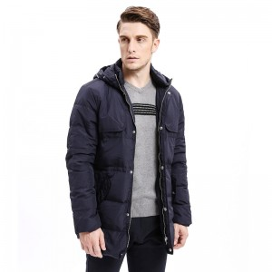 Winter Men Down Coats Heavy Weight Hoodie Organ Design Down Warm Long Jackets Solid Color Basic Style Jackets