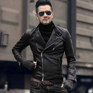 Winter men motorcycle bikers faux leather jacket short slim men knight black fashion leather suit jacket coat