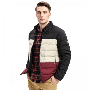Winter New Mens Down Coat Jacket Three Colors Stitching Regular Fit Warm Turn Down Coats Fashion Business Outfit