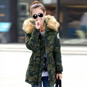 Winter Slim Solid Parka Military Hooded Jackets For Women Thumbnail