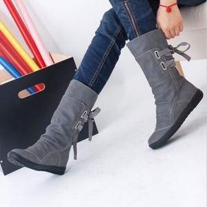 Winter Snow Boots Mid Calf Solid Wedges Ladies Height Increasing Shoes Casual Leather Boot Woman Warm Botas Mujer