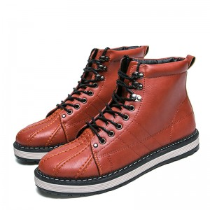Winter Warm Male Footwear Fashion British Russian Leather Lace Up Ankle Male Boots Teenager Non Slip Snow Footwear