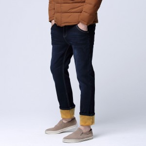Winter Warmed Men Slim Straight Jean Casual Thicken Flannel Fleece Jean Elastic Wash Jean Plus Size Mens Pants Trousers