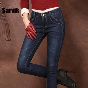 Winter Women Jeans Pants Warm Fleece Skinny Trousers Legging Female New Thumbnail