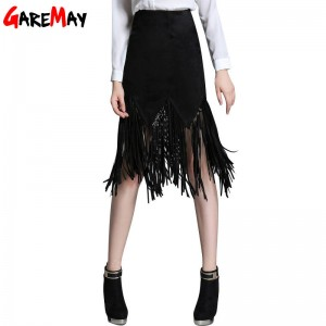 Women Black Suede Skirt Tassel Fashion Faux Leather Skirt New Arrival Women Thumbnail